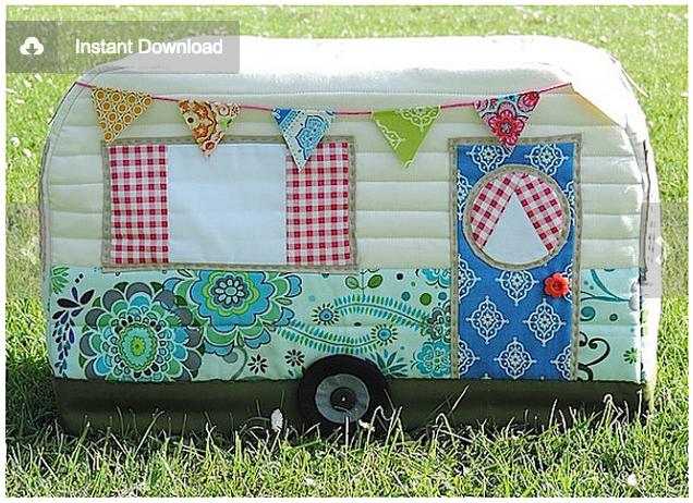 Vintage Caravan Sewing Machine Cover Adjusting The Pattern
